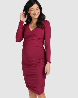 Maternity Nursing Dress Berry red crossover bodycon made in australia
