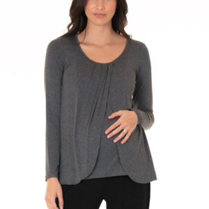 Long sleeve nursing top dark grey
