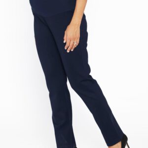 Maternity straight cut pants navy side