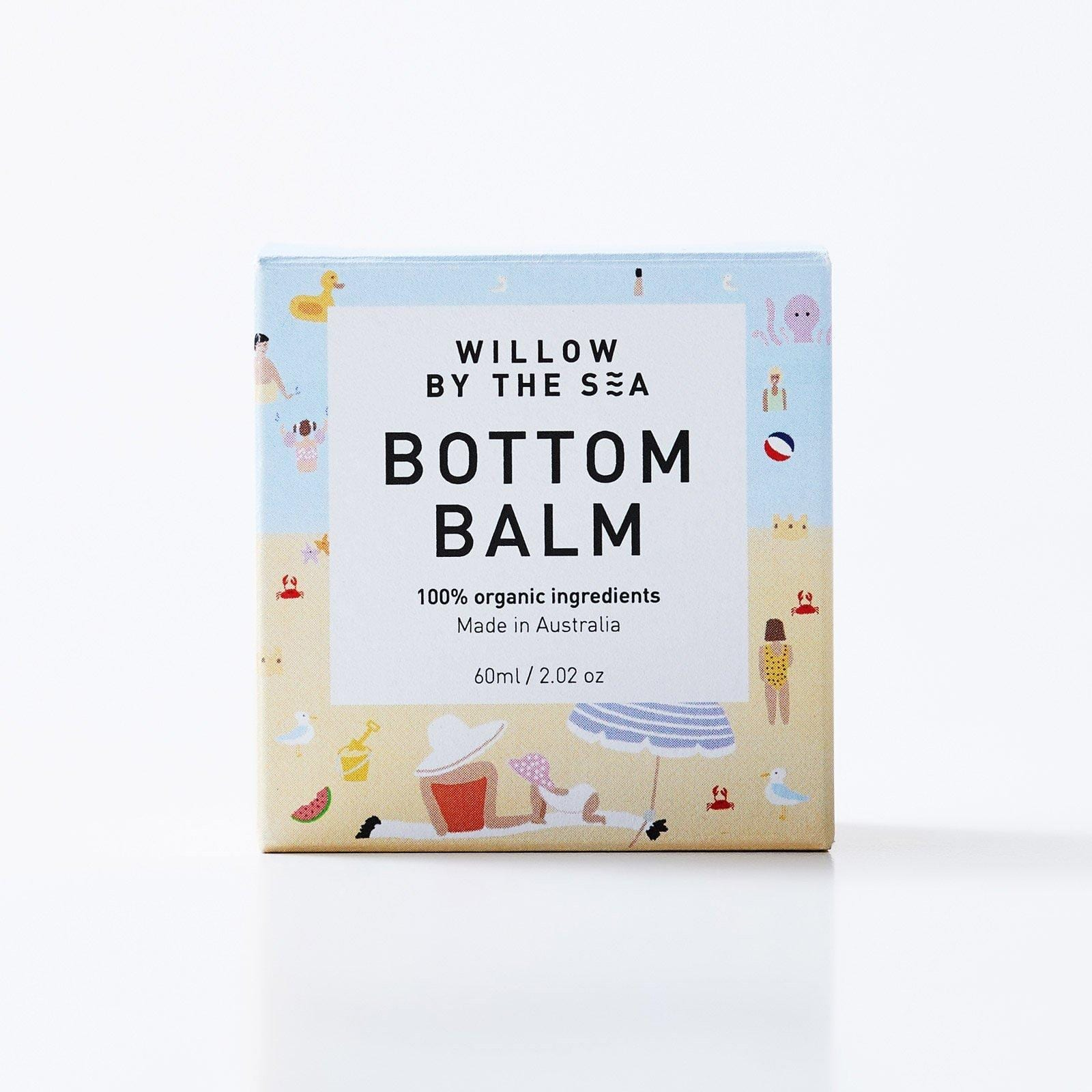 Bottom balm nappy rash cream by Willow by the Sea all natural and organic made in australia
