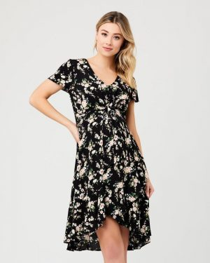 Tie front maternity and nursing Dress Elora floral