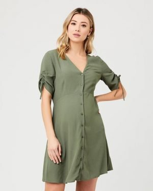 Mae Button Through Maternity Nursing Dress