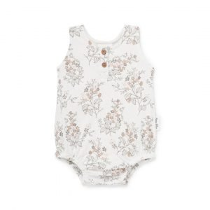 Floral bubble onesie Organic GOTS certified cotton