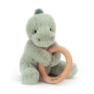 Shooshuu Dino Wooden Ring Teether Rattle by Jellycat