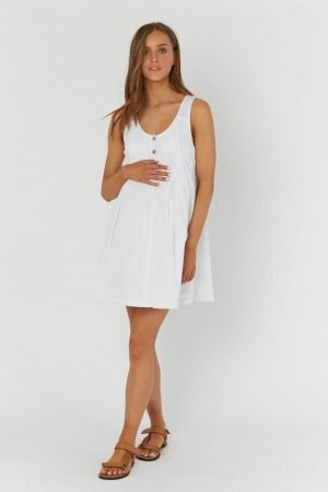 Legoe Arabella White Maternity Button Down Nursing Dress