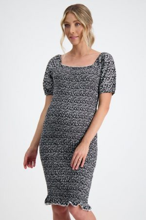 Maive and Bo Confetti Shirred Maternity Dress