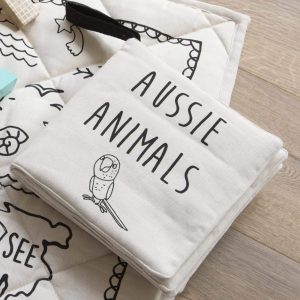 Cloth book for babies black on white aussie animals