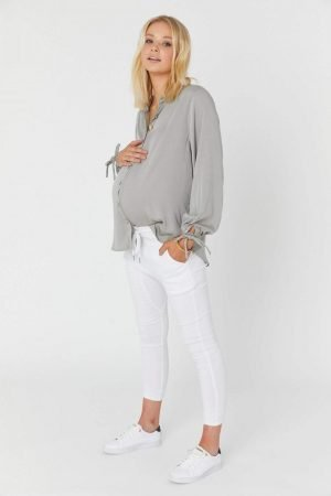Finn Maternity Nursing Shirt Washed Sage Green