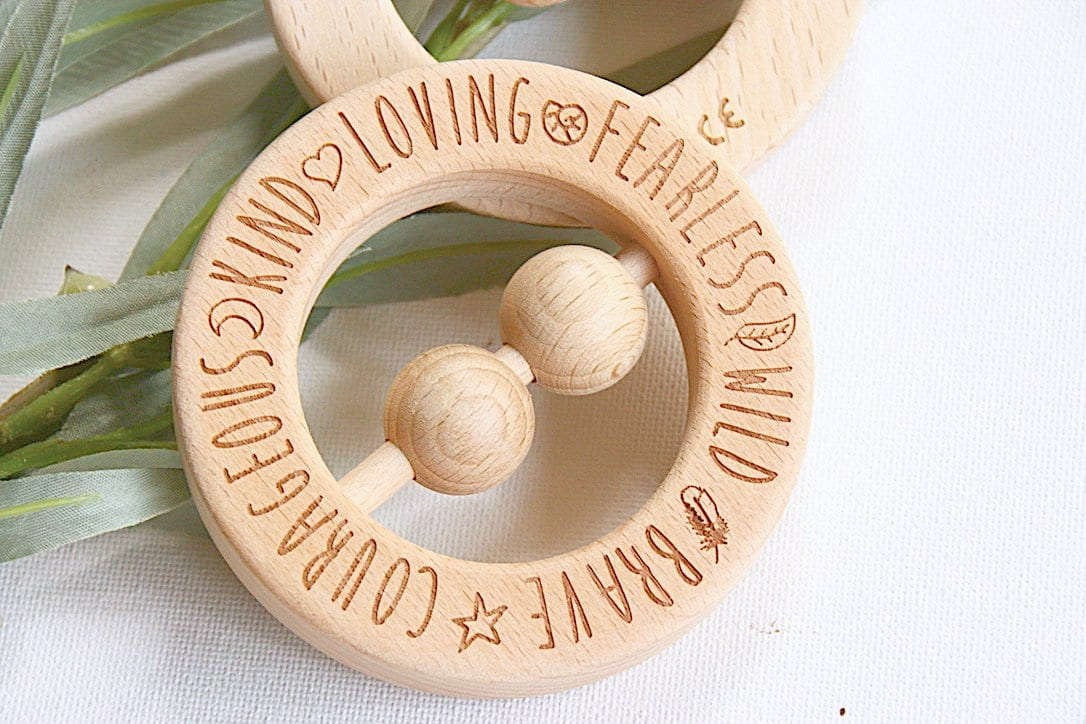 Teething rattle beech wood ring wreath