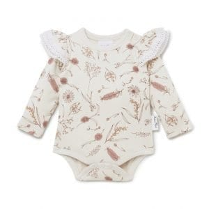 Organic Cotton Girl Onesie Native Flora AOP