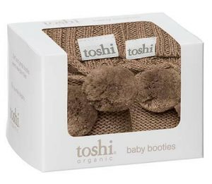 Toshi baby booties cocoa gift boxed