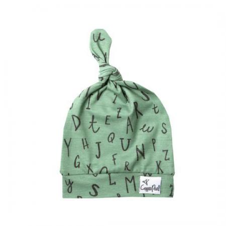 Baby green top knot beanie