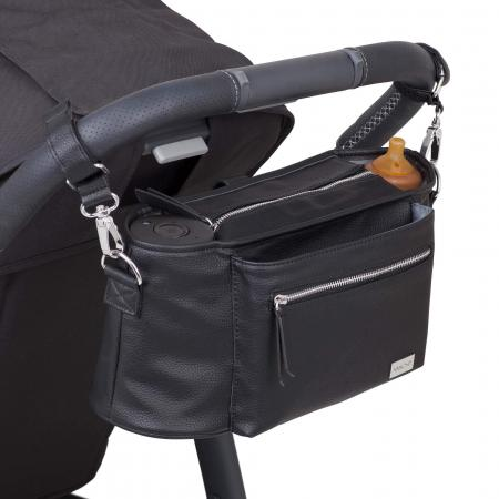 Pram caddy black to for essentials when walking with baby in the pram