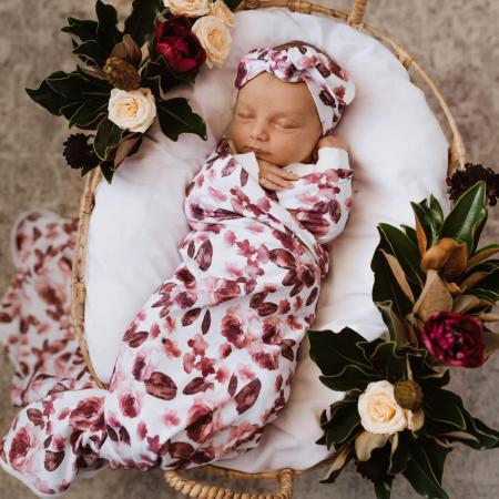 Snuggle Hunny Fleur Wrap and top knot2
