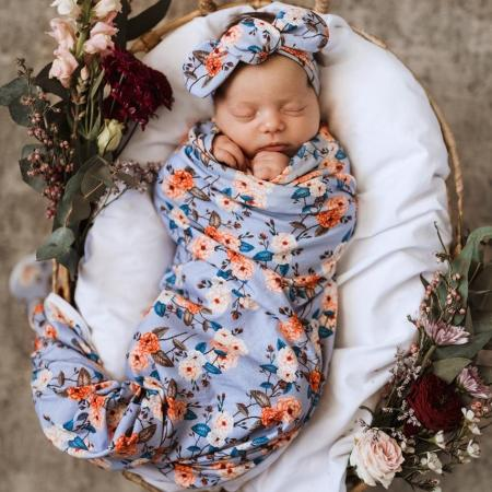 Swaddle and topknot set vintage blossom snuggle hunny