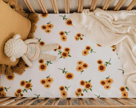 Sunflower Cot Sheet by Snuggle Hunny Kids