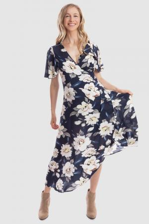 Maive and Bo Navy Floral Wrap Dress for Maternity
