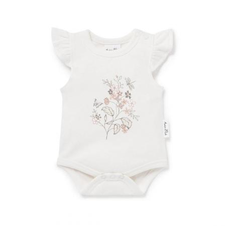 Summer Floral Onesie organic cotton aster and oak
