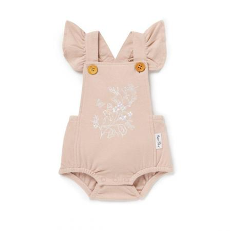 Floral embroidered baby playsuit