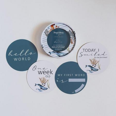 Whale and azure baby milestone cards
