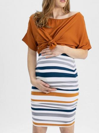 Bamboo Maternity Fitted Skirt Orange and blue Stripe