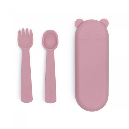 Feedie Fork and Spoon Set We Might Be Tiny Dusty Rose
