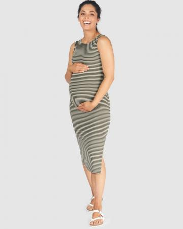 Khaki Stripe Maternity Dress Mathilda by Pea in a Pod Australian Made