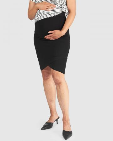 Maternity Cat Crossover Skirt Black