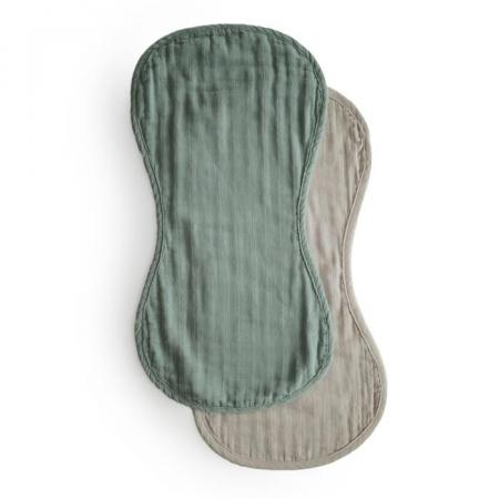 Burp Cloths Mushie Roman Green Fog
