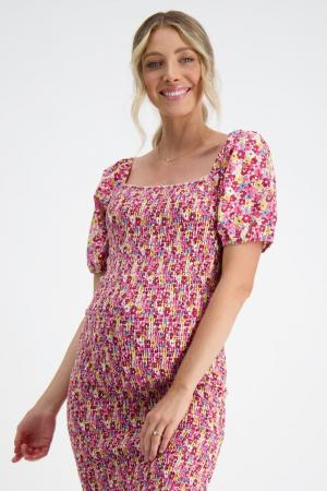 Shirred maternity dress confetti red floral front