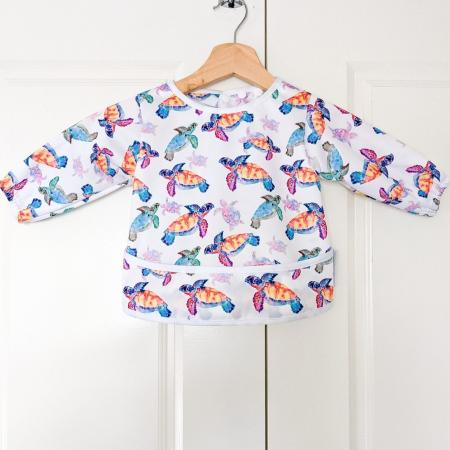 Smock for baby messy play Sea turtles baby bare