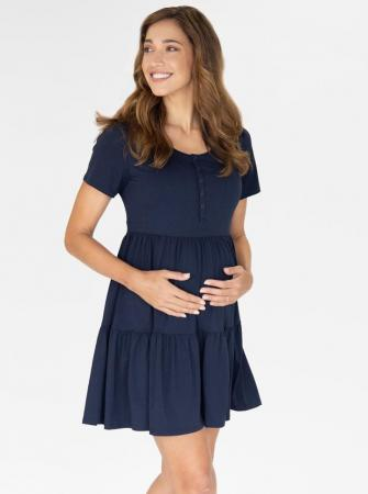 Maternity Tiered Dress Navy Pregnancy and NUrsing