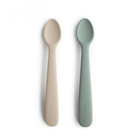 Mushie Silicone Spoon Pack of 2 Cambridge Blue Shifting Sand Baby Tableware