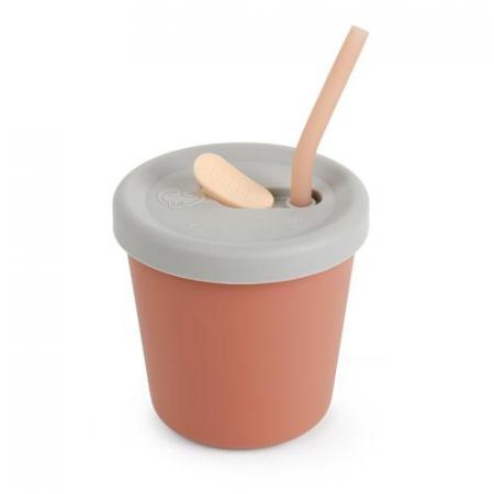 Silicone Sippy Straw Cup Rust
